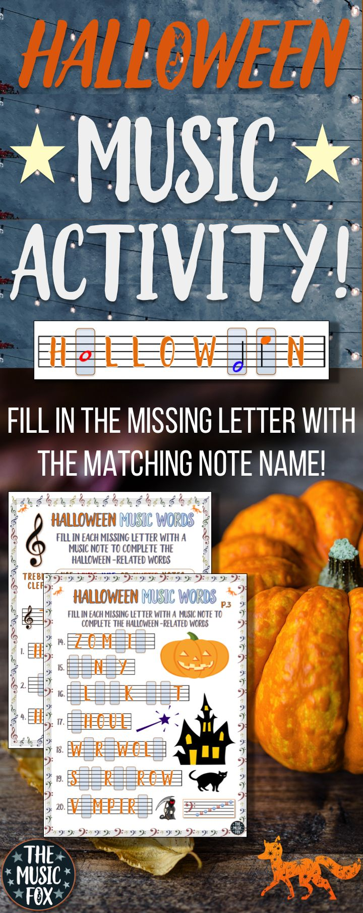 This Halloween Music #Worksheet is a fun way for students to learn the note names on the music staff by drawing in the missing letters of the musical alphabet (A-G) for 20 Halloween-related words. For example, the letters C, A, and E, are missing in the word �carve� (_ _ r v _) and students must draw in the corresponding music note name of the missing letters. #Halloween #Music #TheMusicFox #Band #Choir #TeachersPayTeachers #TpT #education #TeachingMusic  #MusicClassroom #MusicEducation
