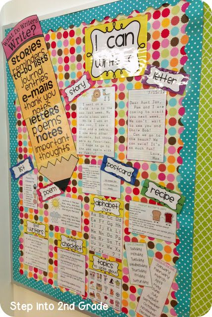 Step into 2nd Grade with Mrs. Lemons: Classroom Organization ~ put into a binder with writing station/ writers note book... love the examples