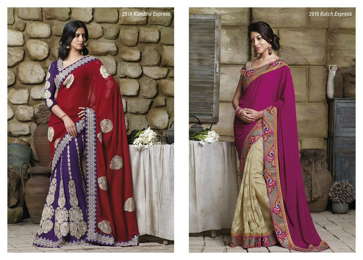 This stupendous purple georgette embroidered saree with red color georgette material pallu...  &...  Brasso saree with its phenomenal border patta & with pink velvet pallu.