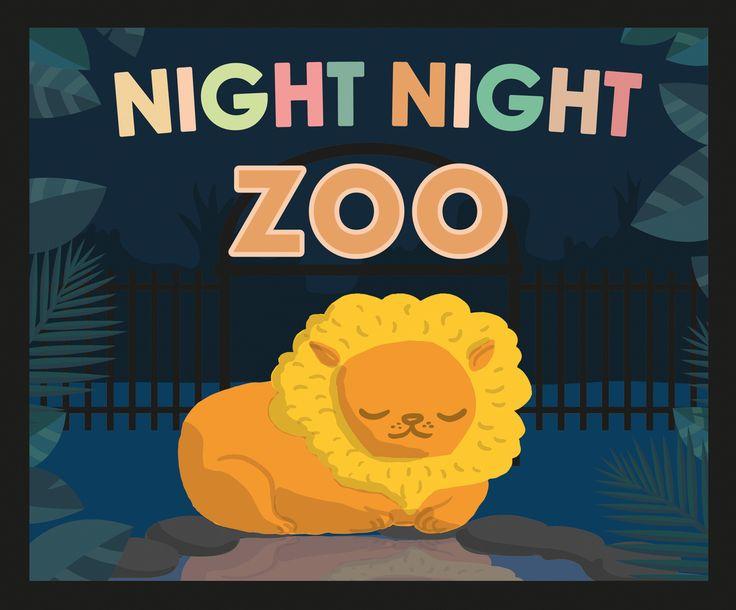 Night Night Zoo Cover Night night bed time sleepy barn yard scene by Kitt Byrne  #illustration #childrens #childrensillustration #goodnight #sleeping #sleepy #bedtime #bedtimebook #books #childrensbook #childrensbooks #cute #vector #sunset #evening #zoo #animals #lion #jungle