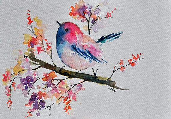 ORIGINAL Watercolor Bird Painting, Colorful Robin and Watercolor Flowers in…                                                                                                                                                                                 Mais