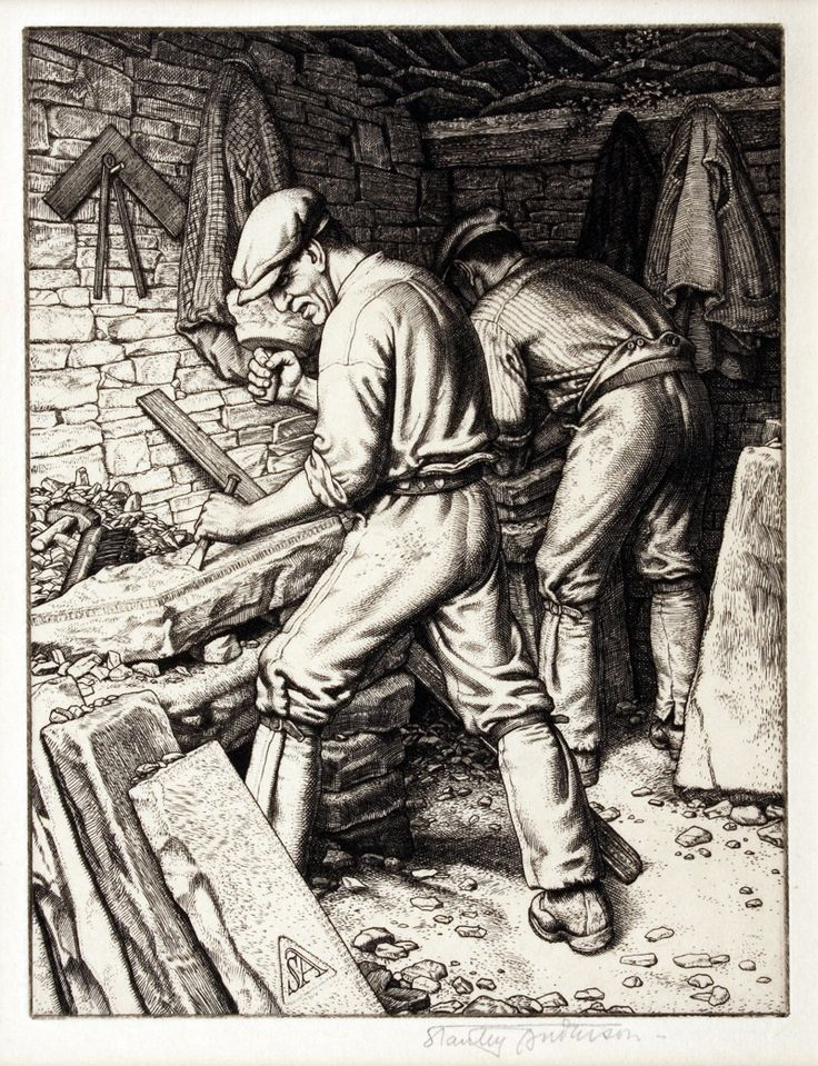 PURBECK QUARRYMEN by Stanley Anderson (British 1884-1966) - engraving