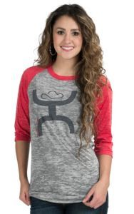 HOOey Women's Grey and Red Burnout Tee Shirt | Cavender's