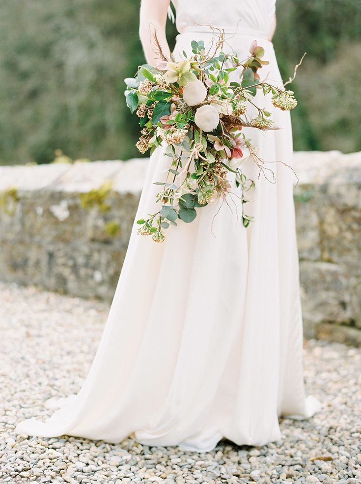 Image by Georgina Harrison Photography - Brinkburn Wild flowers - rustic bouquet with mushrooms Northumberland Wedding…