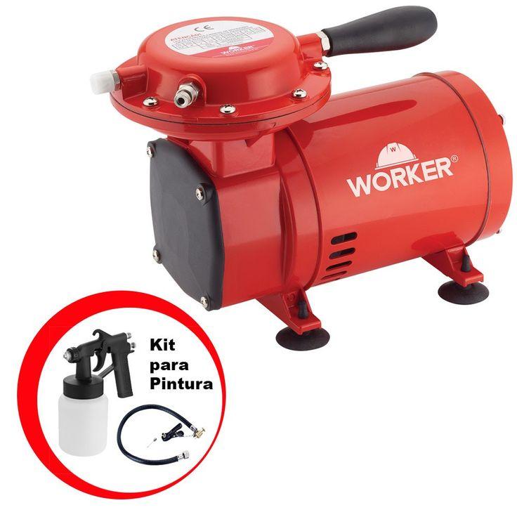 Compressor de Ar Direto 50PSI Bivolt com Kit para Pintura - WORKER-371629 WORKER-371629 - R$ 349.90