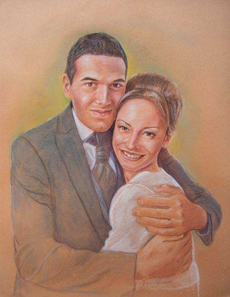 Giovani Sposi Ritratto in Pittura a pastello