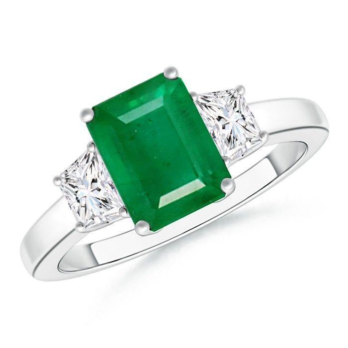 Angara Emerald-Cut Natural Emerald Three Stone Engagement Ring u6vJjbHN