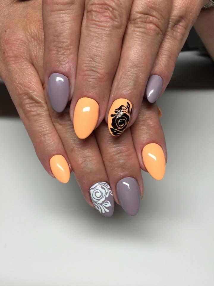 by Monika Szurmiej Tutaj Indigo Educator :) Find more inspiration at www.indigo-nails.com #nailart #nails #indigo #peach #grey #black #white