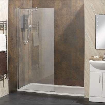 1500 x 700 Alcove Walk In Shower & Tray / Waste