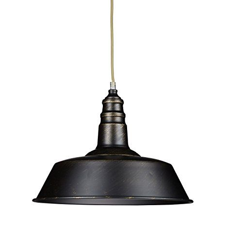 Relaxdays Industrie Deckenlampe / Deckenleuchte schwarz - Fabrik-Lampe Industrielampe im Vintage Retro Look fürs Loft - Messing-Lampe & Holz, Fassung E 27, höhenverstellbar