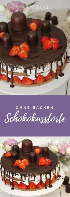 Schokokusstorte Rezept: Schnell zubereitet dank kleiner Schummelei. Die Schokokuss-Torte mit Erdbeeren ist fruchtig, sahnig und voller Schokolade. Eine tolle Geburtstagskuchen Idee für Kinder und Erwachsene. Die Dickmanntorte ohne backen schmeckt auch am zweiten Tag noch lecker.