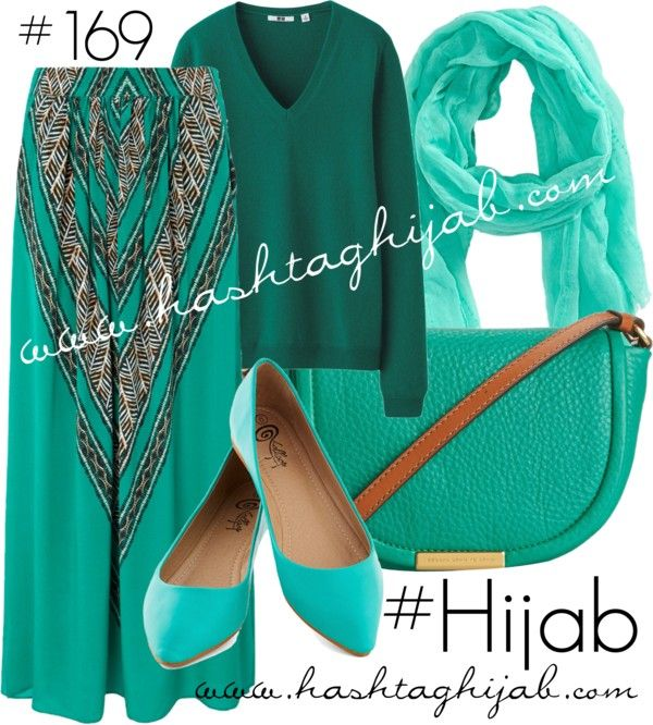 Hashtag Hijab Outfit  Love the green sweater ❤