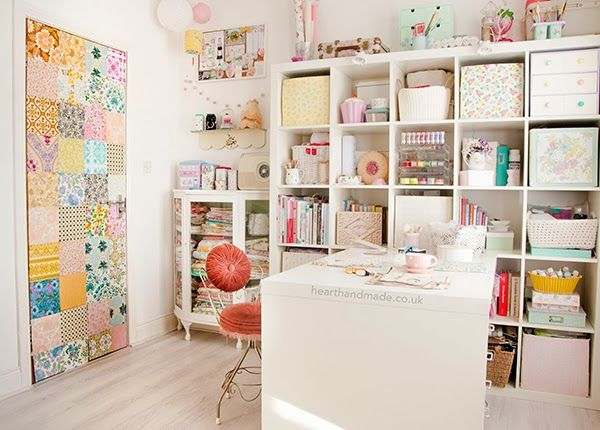 The ikea expedit shelves and desk unit - a patchwork door and painted cabinet