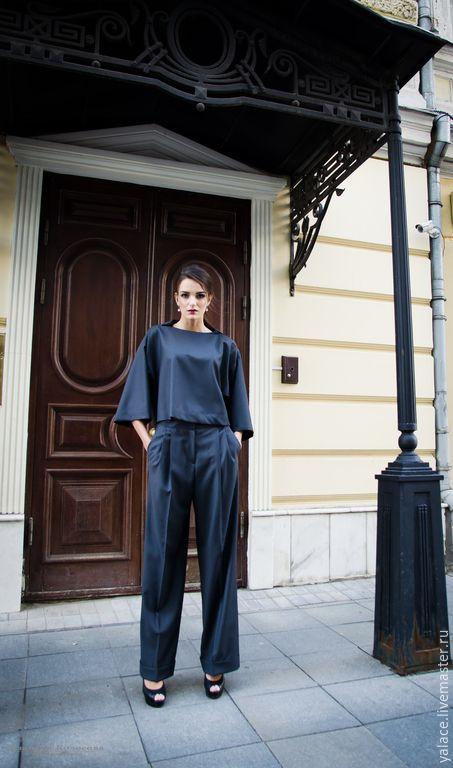 Купить Брюки Veta - темно-серый, однотонный, брюки, костюм, деловой костюм, деловой стиль