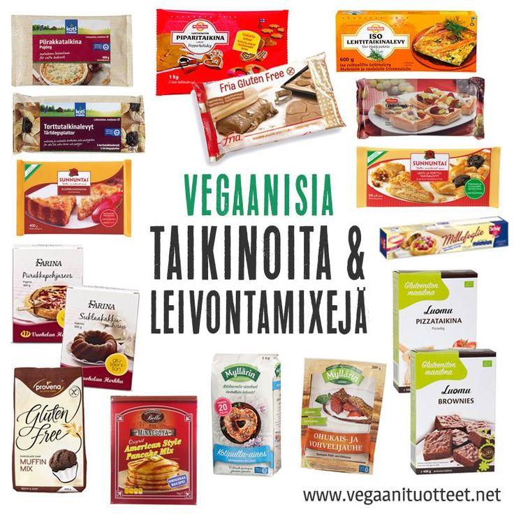 Vegaanisia lehti- ja torttutaikinoita, pakastepiirakkapohjia, piparkakkutaikinoita, sekä jauhemaisia leivontaseoksia oikoteiksi onnistuneisiin lettuihin, vohveleihin, kakkuihin, piirakoihin ja muffinsseihin.  Täältä listasta löydät kaikki valmistaikinat, pizzapohjat, leivontamixit sekä leivontaan tarkoitetut koristelu- ym tuotteet: http://www.vegaanituotteet.net/herkut/leivonta-koristelu