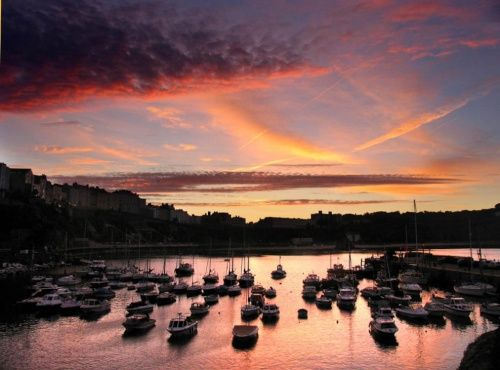 ~ sunset over the harbour ~ Tenby ~ Wales ~
