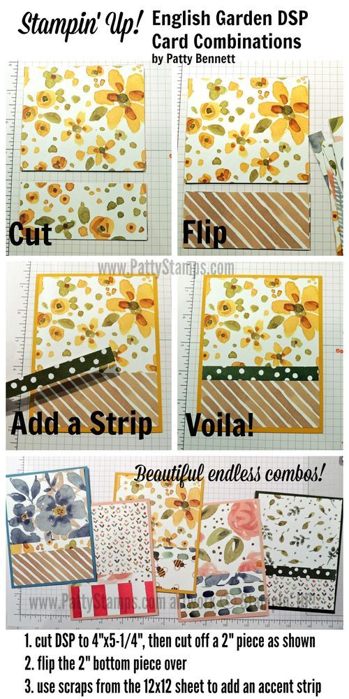 "Tip for Handmade Cards with 12""x12"" paper.. how to cut and flip paper to create endless paper combo designs"