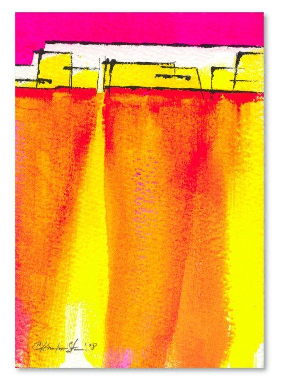 "Abstract Southwestern painting, pink, yellow art, ""Village 1"" Original Contemporary Modern Southwest art painting Kathy Morton Stanion EBSQ"