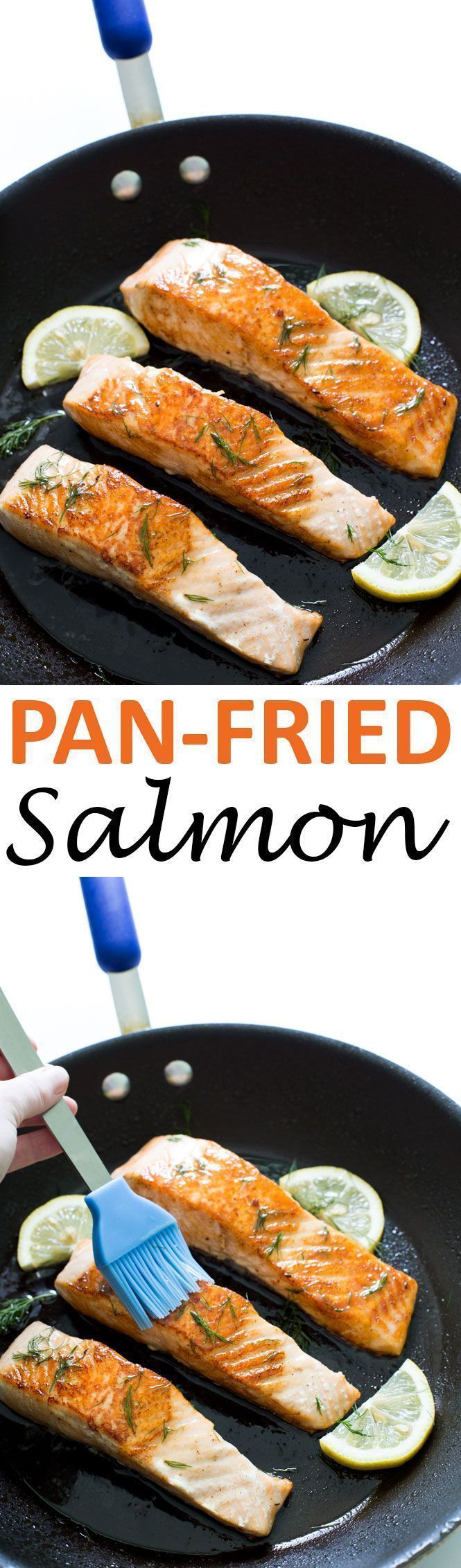 Super Easy Pan Fried Salmon with Lemon Dill Butter. Takes 20 minutes to make and only requires 5 ingredients! | chefsavvy.com #recipe #salmon #pan #fried #seafood #lemon #dill