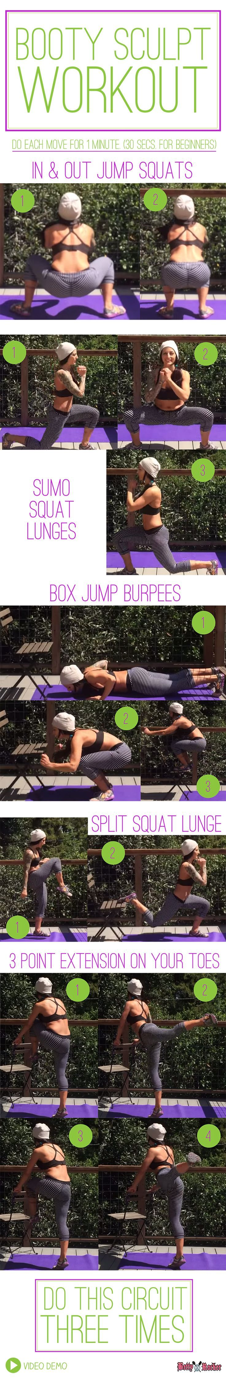 Do this circuit 3 times! Video Demo and complete form notes on the blog, just click the pin. Move 1: In and Out Jump Squats Move 2: Sumo Squat Lunges Move 3: Box Jump Burpees Move 4: Split Squat Lunge with Knee Move 5: 3 Point Extension on Your Toes