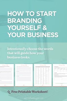 How to Start Branding Yourself and Your Business by Better Looking Biz. You know you need a brand and you aren't sure where to start? Or maybe you need to consolidate and refresh your existing brand? These branding tips + worksheet will help you create a solid foundation that you can use to guide everything you create.