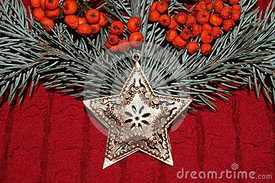 Christmas arrangement with gold star, red berries and  fir branches