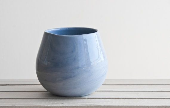 Ceramic cup in light blue with glossy glaze. modern by ONEandMANY