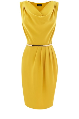 Cowl Drape Dress in mustard