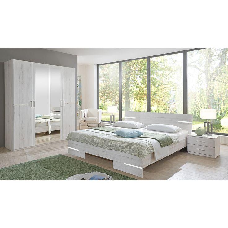 Awesome Schlafzimmer Set Anna mit trg Kleiderschrank Bettbreite w hlbar Wei eiche Jetzt bestellen unter
