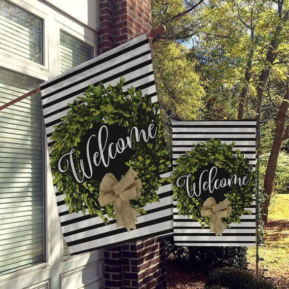 Welcome Flags House Flags Garden Flags Porch Flags Yard Flags Farmhouse Rustic Chic Boxwood Burlap Wreath Home Outdoo House Flags Yard Flags Garden Flags