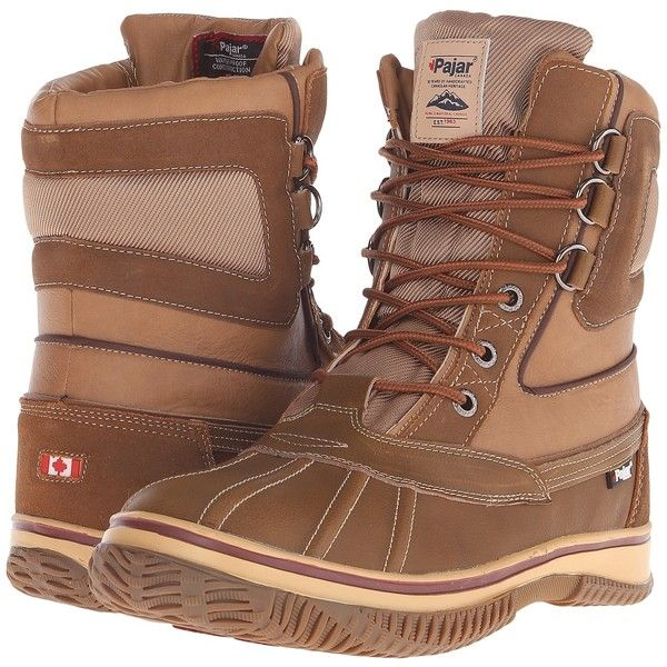 Pajar CANADA Tuscan No Fur (Cognac) Men's Hiking Boots ($70) ❤ liked on Polyvore featuring men's fashion, men's shoes, men's boots, tan, mens waterproof boots, mens leather boots, mens shoes, mens tan boots and mens cognac dress shoes