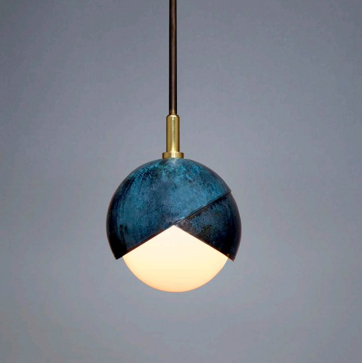 "Benedict Pendant 6"" dia. Prussian blue patina on brass, polished brass,  blackened brass & white glass. Trella"