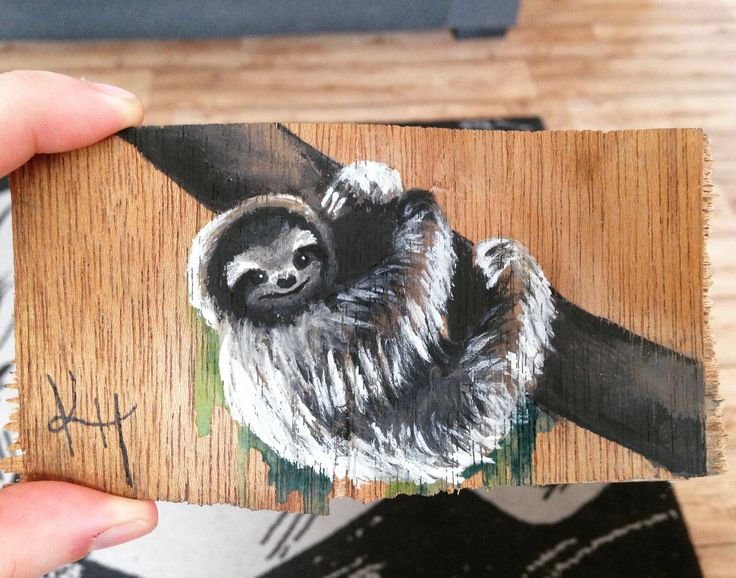 Made this cute guy on a piece of scrap wood. Acrylic/watercolour combination.