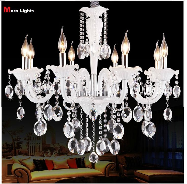 Белый Современная Люстра Crystal Light Люстры Огни гостиная огни спальня лампы k9 Люстра белый домашнего освещения