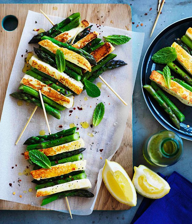 Australian Gourmet Traveller recipe for char-grilled asparagus and haloumi with mint and lemon.