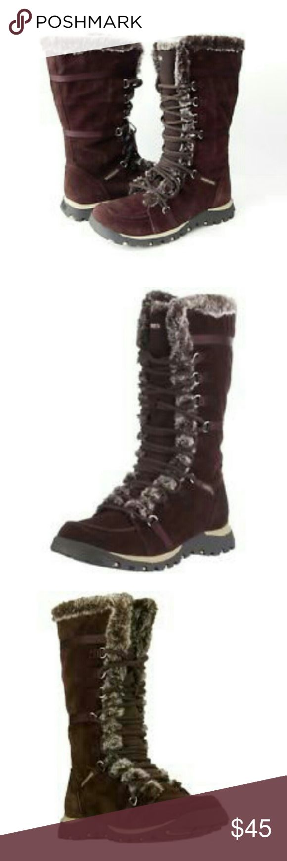 "Skechers Grand Jams Unlimited brown boots These gorgeously functional Skechers boots are perfect for the fall & winter seasons! Brown suede with  grayish faux fur lining. 10.5"" shaft, 6"" top width, fold down cuff option, traction sole. SKECHERS most popular boot, this boot keeps you warm and looking stylish. Shoelaces lace up. Skechers logo on back heel and on sides. IN LIKE NEW CONDITION, NO DAMAGES. Grab yours for less, sold out online! Skechers Shoes"