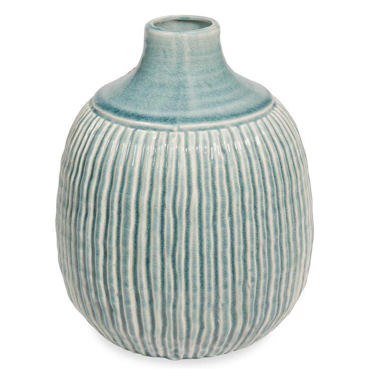 Vase boule en céramique bleue H.26cm STRIES