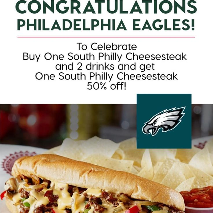 Join us at Texadelphia Frisco for Buy one get one South Philly Cheesesteaks eight he purchase of 2 drinks. Today only. #philadelphia #cheesesteak #philadelphiaeagles #superbowl