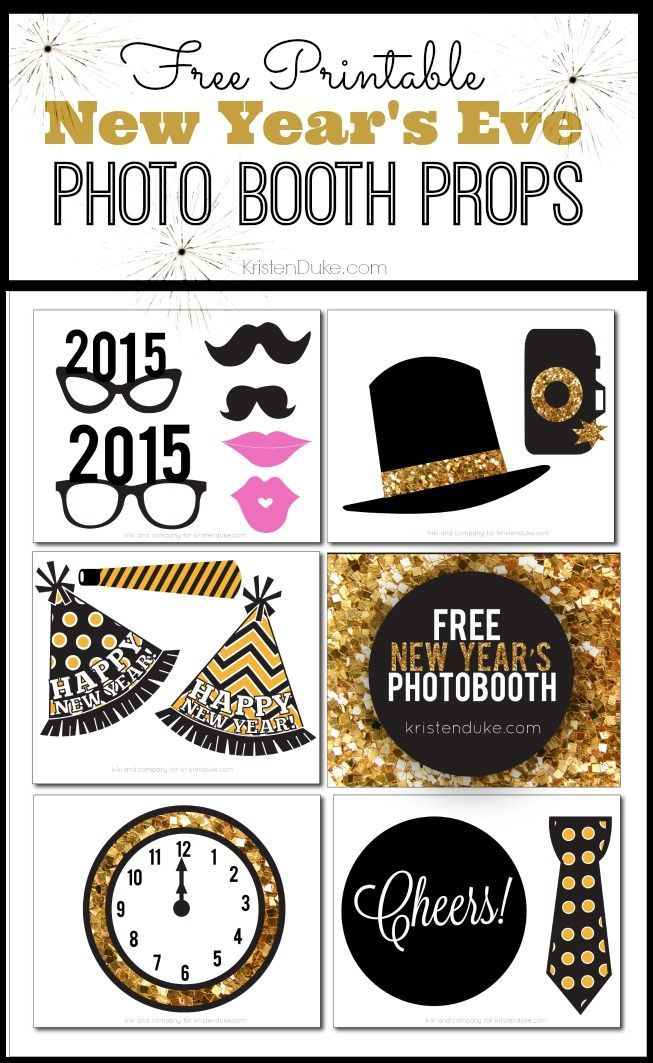Planning a New Year's Eve Party to ring in 2015? Here are some free printable Photo Booth props that will help make your photos pop and bring joy to your guests! KristenDuke.com