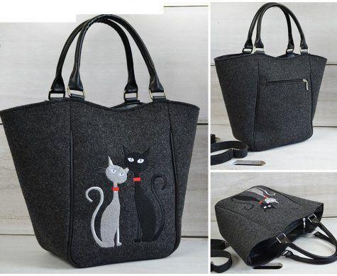 Filcová kabelka Black & White Cats | MixOne.cz