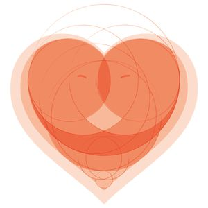 Lovers Hug in a Circles Heart Valentines Day