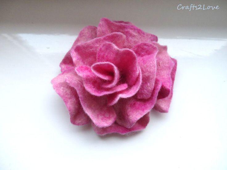 Felt flower brooch. Felt rose brooch. 4 inches. Fresh pink rose brooch. Wool felted flower. Corsage rose. Felt brooch. Pastel pink. by Crafts2Love on Etsy