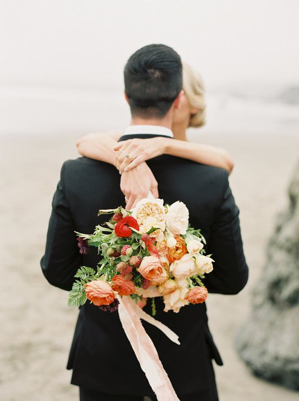 beach wedding - photo by Sawyer Baird Photography http://ruffledblog.com/northern-california-beach-elopement