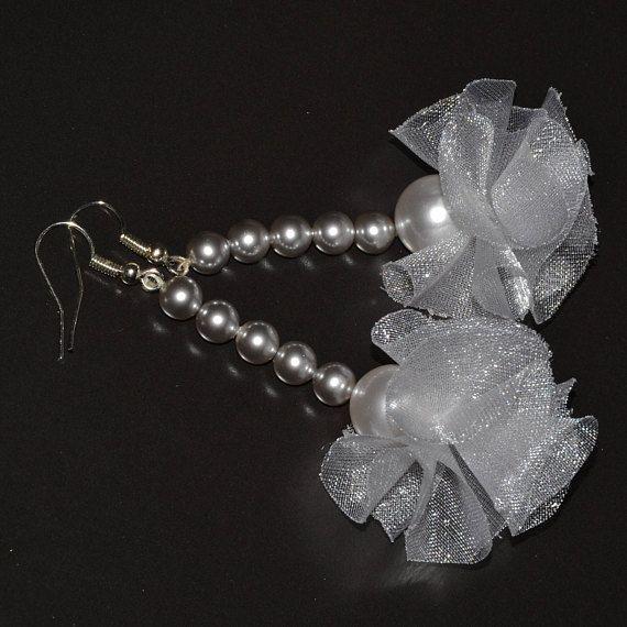 Swarovski pearl drop earrings silver plated hoops