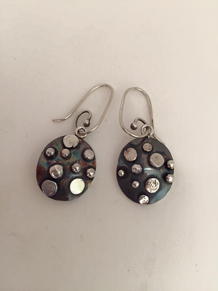 Hand crafted Sterling silver earrings with patina