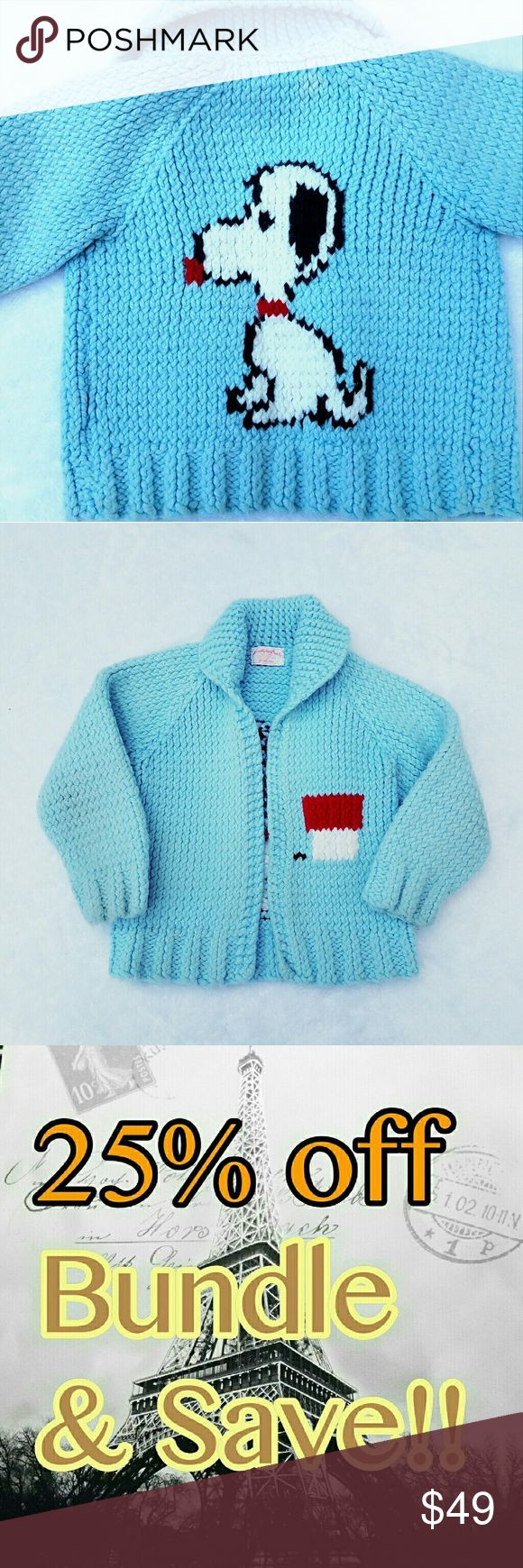 Vintage Snoopy  Blue little girls cardigan size 2T Vintage Snoopy  Blue little girls cardigan size 2T ladies this is super rare and a hard find my price on this item is firm although I do still offer my 25% off bundle discount but no offers from the offer button on this item thank you for understanding Shirts & Tops Sweaters