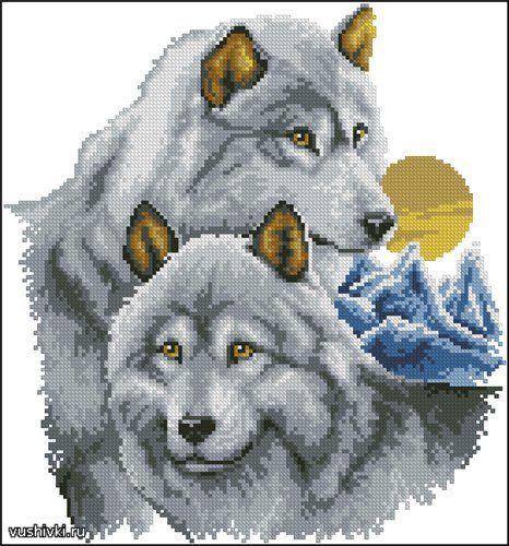 Скачать схема вышивка крестом волки