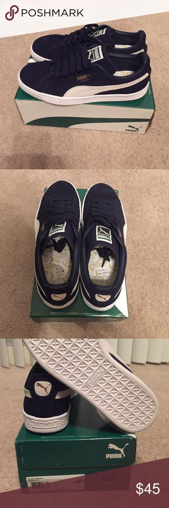 Puma suede Classic Puma suede classic in navy blue (peacoat). Brand new in box with stickers. Never worn. Men's size 9.0. Full leather/suede upper. Synthetic leather lining. Puma Shoes Sneakers