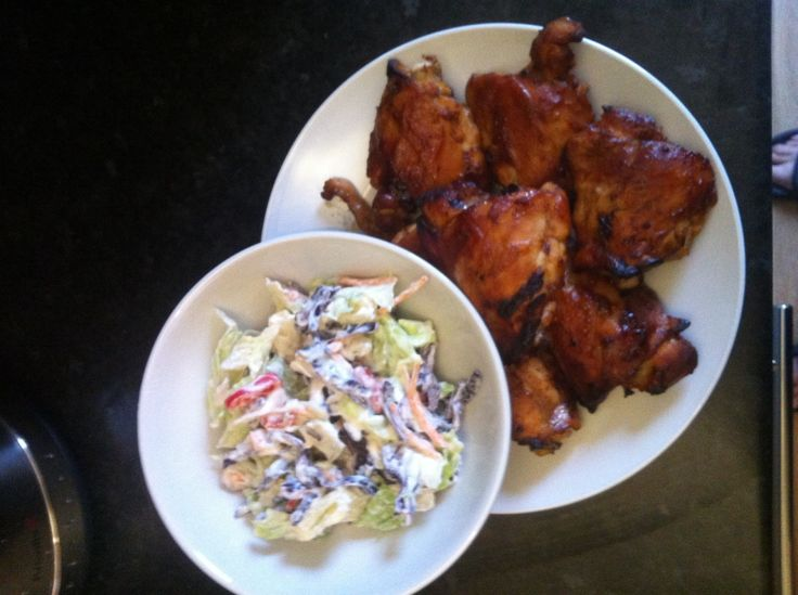 Hairy Dieters Sticky Chicken Thighs & Coleslaw
