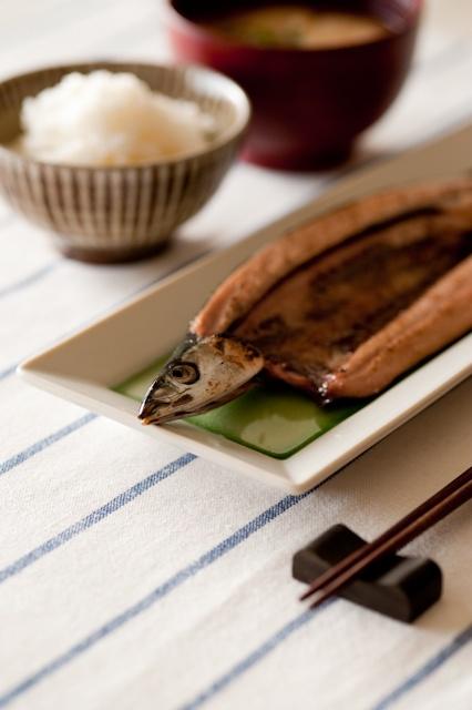 Japanese Food Sanma-no-Shioyaki, Salt-grilled Pacific Saury with Rice and Miso-shiru Soup